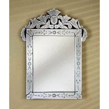 """Radiance 26"""" X 36"""" Rectangle Traditional Cut Glass and Etched Mirror"""