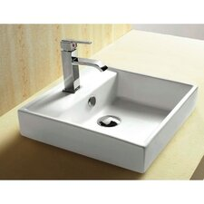 Ceramica Square Single Hole Self Rimming Bathroom Sink with Faucet