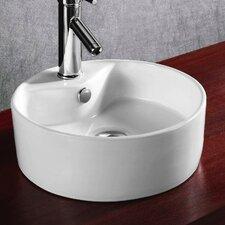 Ceramica Round Single Hole Vessel Bathroom Sink