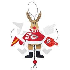 NFL Wooden Cheering Reindeer Ornament