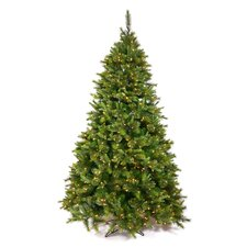 Cashmere 6.5' Green Artificial Christmas Tree with 400 LED White Lights with Stand