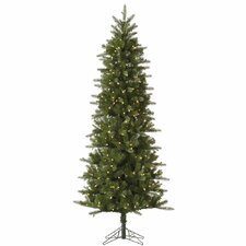 Carolina Pencil 7.5' Green Spruce Artificial Christmas Tree with 450 Dura-Lit Clear Lights