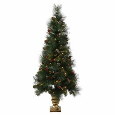 4' Pine Berry Cone Potted Artificial Christmas Tree with 100 Clear Lights