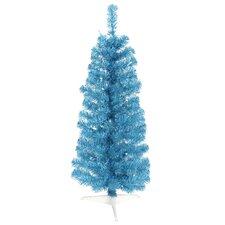 10' Sparkling Sky Blue Artificial Pencil Christmas Tree with Blue Lights