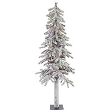Flocked Alpine 5' White Artificial Christmas Tree with 150 LED Multi-Colored Lights with Stand