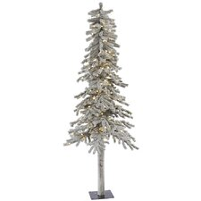Flocked Alpine 6' White Artificial Christmas Tree with 200 LED White Lights with Stand