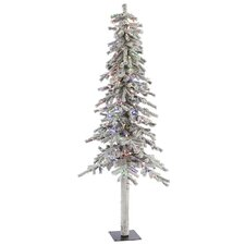Flocked Alpine 7' White Artificial Christmas Tree with 300 LED Multi-Colored Lights with Stand