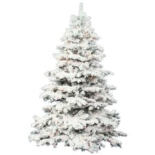 7.5' Flocked Alaskan Artificial Christmas Tree with Multi Lights