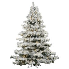 5.5' Flocked Alaskan Artificial Christmas Tree with 450 Warm White LED Lights