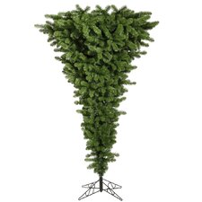 7.5' Green Upside Down Artificial Christmas Tree 500 LED Multi Colored Dura-Lit Lights with Stand
