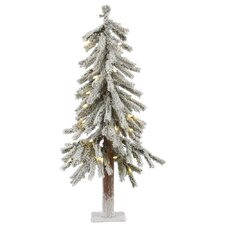 Flocked Alpine 3' White Artificial Christmas Tree with 50 LED White Lights with Stand