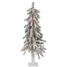 Flocked Alpine 2' White Artificial Christmas Tree with 50 LED Multi-Colored Lights with Stand