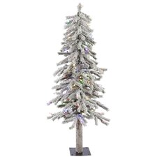Flocked Alpine 4' White Artificial Christmas Tree with 100 LED Multi-Colored Lights with Stand