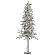 Flocked Alpine 5' White Artificial Christmas Tree with 150 LED White Lights with Stand