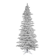 12' Flocked White Spruce Christmas Tree with Stand