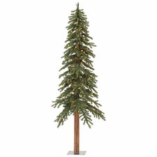 7' Natural Alpine Artificial Christmas Tree with 300 LED Multi Colored Lights