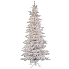Flocked White Spruce 10' Artificial Christmas Tree with 650 Dura-Lit Clear Lights with Stand