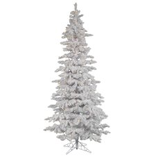 Flocked White Spruce 10' Artificial Christmas Tree with 650 LED White Lights with Stand