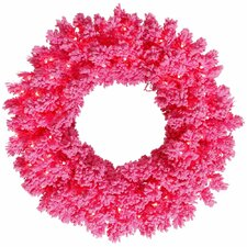 "Flocked Pine 24"" Pre-Lit Wreath"