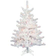 3' Crystal White Christmas Tree with 50 LED Multi Colored Lights