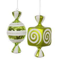 2 Piece Fat Candy Christmas Ornament Set