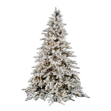 Flocked Utica 6.5' Green Fir Artificial Christmas Tree with 600 Dura-Lit Clear Lights with Stand