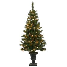 5' Frosted Ashberry Pine Potted Artificial Christmas Tree with Clear Lights