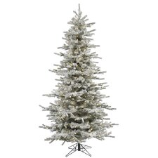 6.5' Flocked Slim Sierra Artificial Christmas Tree with 550 LED Warm White Lights