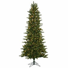 Kennedy Slim 6.5' Green Fir Artificial Christmas Tree with 400 Dura-Lit Clear Lights with Stand