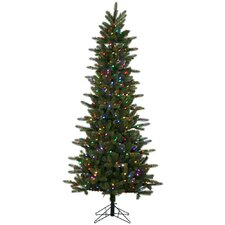 Kennedy Slim 7.5' Green Fir Artificial Christmas Tree with 500 LED Multi-Colored Lights with Stand
