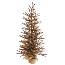 4' Chocolate Tree with Burlap Base Artificial Christmas Tree with 100 Clear Light