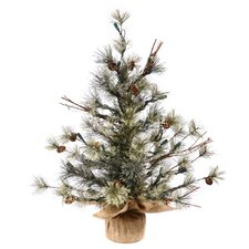 Mountain Ridge Dakota 3' Pine with Burlap Base Artificial Christmas Tree