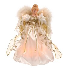 1' Cream and Gold Angel Christmas Tree with Clear Lights