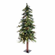 Mixed Country Alpine 4' Green Artificial Christmas Tree with 100 LED White Lights with Stand
