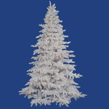 Flocked White Spruce 6.5' Artificial Christmas Tree with 650 Dura-Lit Clear Lights with Stand