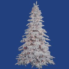 Flocked White Spruce 4.5' Artificial Christmas Tree with 250 Dura-Lit Multi-Colored Lights with Stand