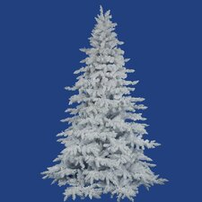 Flocked 7.5' White Spruce Artificial Christmas Tree with Unlit with Stand