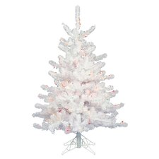 Crystal White 3' White Artificial Christmas Tree with 45 LED Warm White Lights