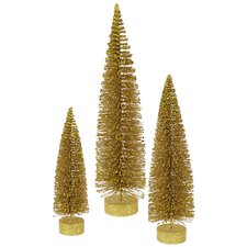 3 Piece Glitter Oval Christmas Tree Set