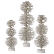 3 Piece Glitter Round Topiary Tree Set