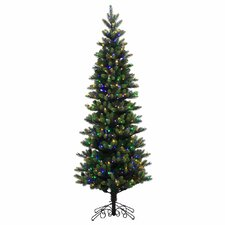 6.5' Green Spruce Artificial Christmas Tree with 400 LED Multi-Colored Lights with Stand