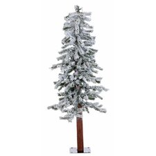 4' Flocked Alpine White Artificial Christmas Tree with 100 Clear Lights