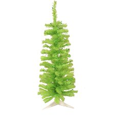 4.5' Chartreuse Green Artificial Pencil Christmas Tree with Green Lights