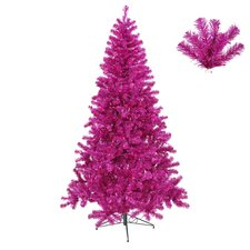 3' Fuchsia Full Artificial Sparkling Tinsel Christmas Tree with Pink Lights