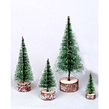 0.6' Green Frosted Artificial Village Christmas Tree