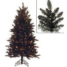 4.5' Black Ashley Spruce Artificial Christmas Tree with Clear Lights