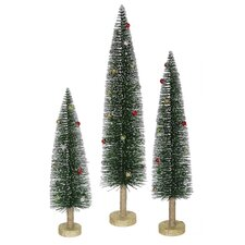 Whimsical Green Mini Village Artificial Christmas Tree Set
