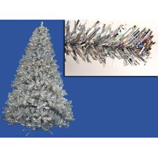 7' Sparkling Silver Full Artificial Tinsel Christmas Tree with Clear Lights