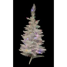 2.5' White Sparkle Spruce Pencil Artificial Christmas Tree with LED Multi Light