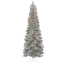 7.5' Silver Pewter Artificial Tinsel Pencil Christmas Tree with Clear Lights